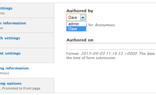 Node authorship with a select list in Drupal 7